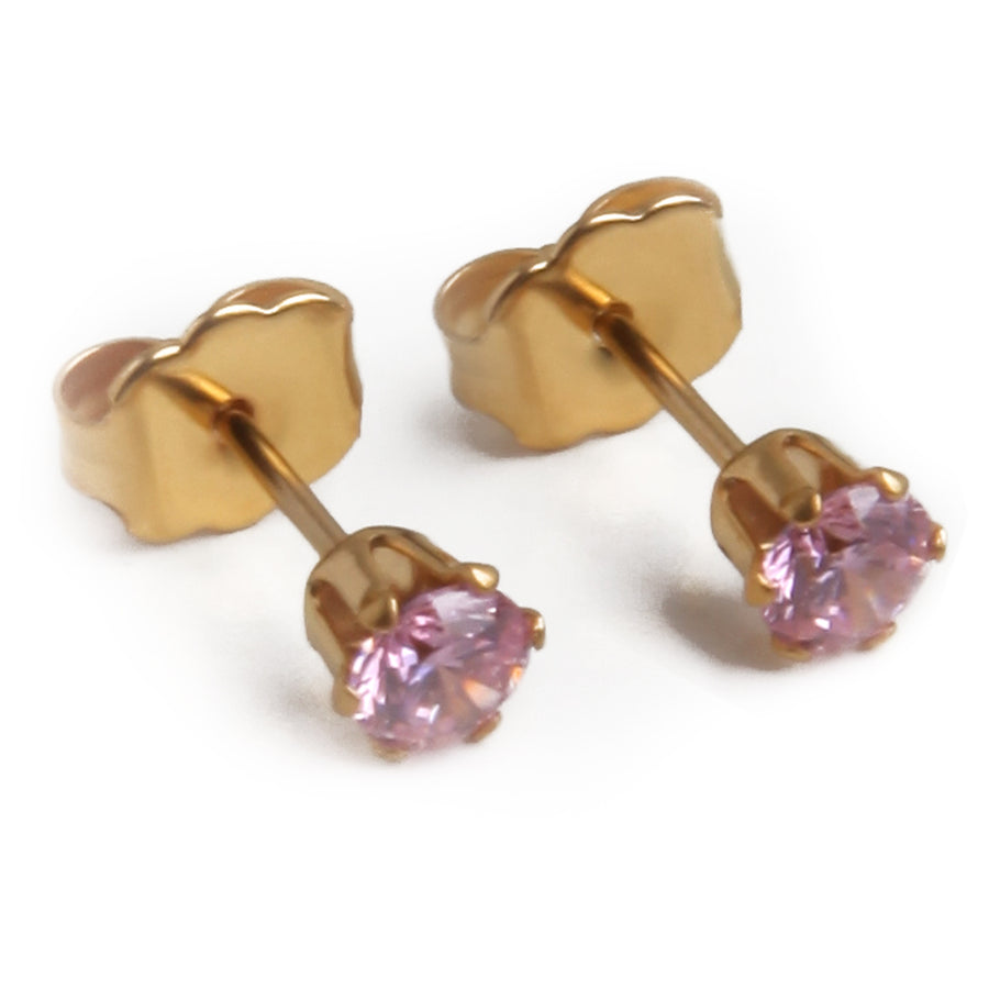 Wholesale | Cubic Zirconia Earrings | 4mm Round Pink | 22k Gold Plated Stainless Steel Posts | 1 Pair