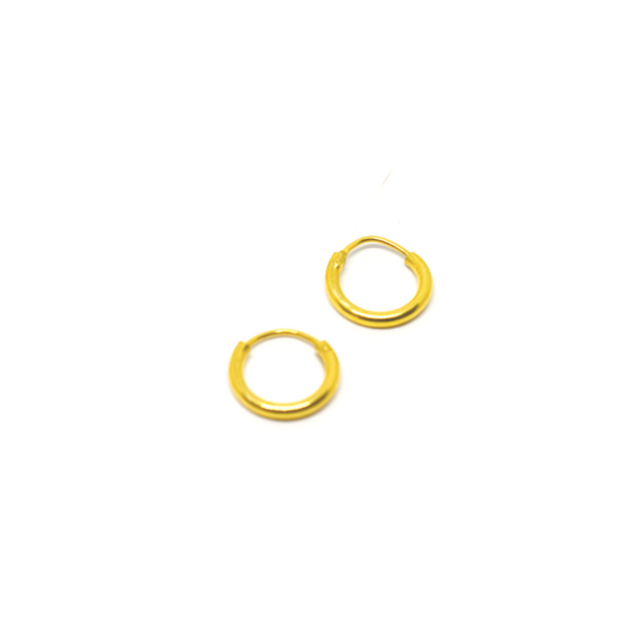Sterling Silver Earrings | 10mm Mini Hoops | 22k Gold Plated | 3 Pairs
