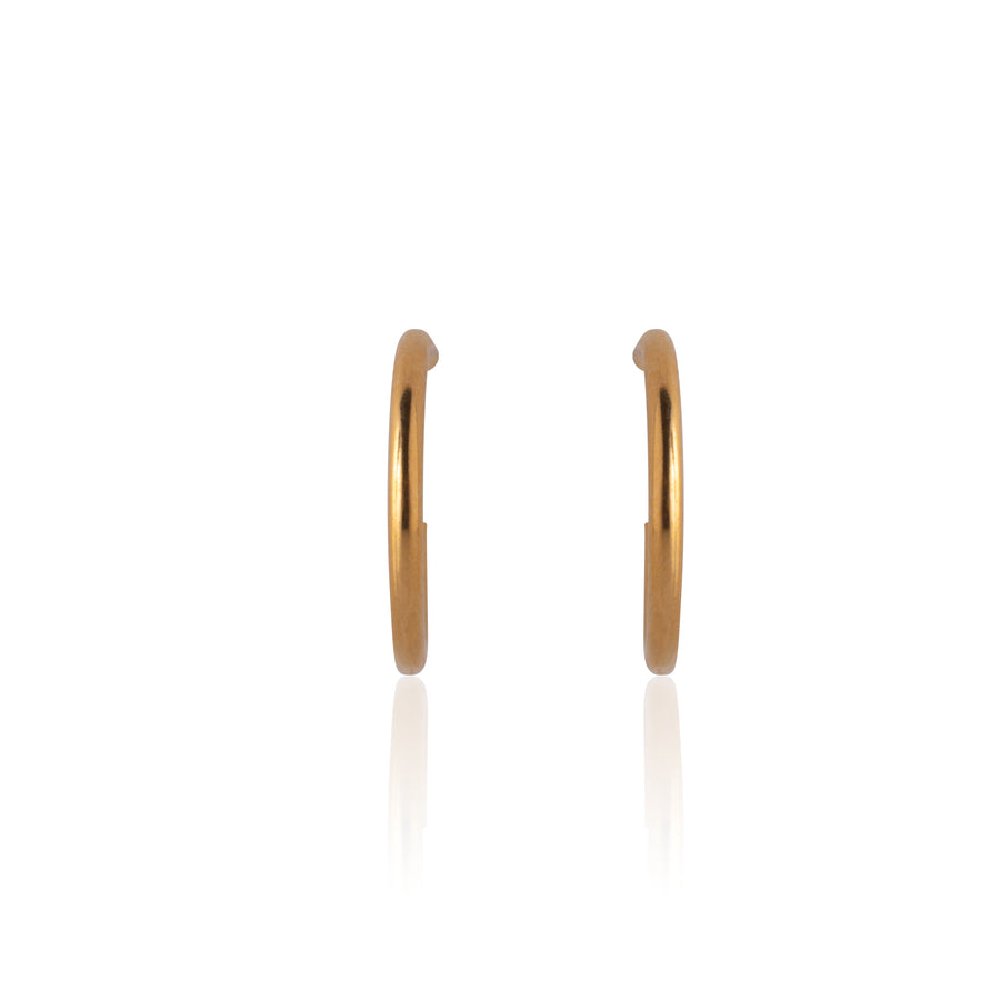 Stainless Steel Earrings | 1/2 inch Hoops | 22k Gold Plated
