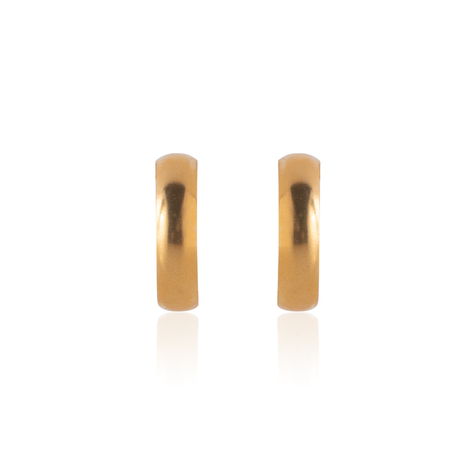 Stainless Steel Earrings | Wedding Band Hoops | 22k Gold Plated