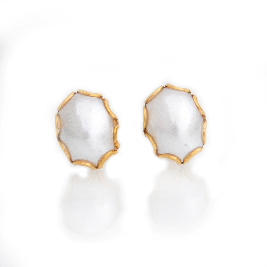 Stainless Steel Earrings | 8mm Oval Glass Pearl with Lace Trim | 22k Gold Plated | 1 Pair