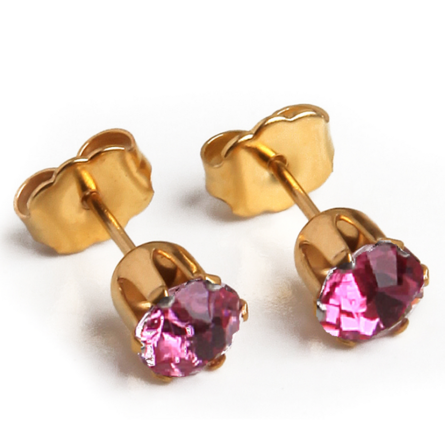 Cubic Zirconia October Birthstone Earrings | 5mm Round | 22k Gold Plated Stainless Steel Posts | 1 Pair