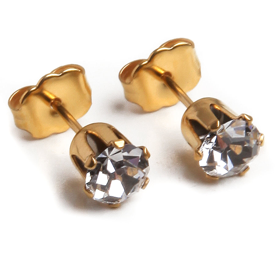 Cubic Zirconia April Birthstone Earrings | 5mm Round | 22k Gold Plated Stainless Steel Posts | 1 Pair