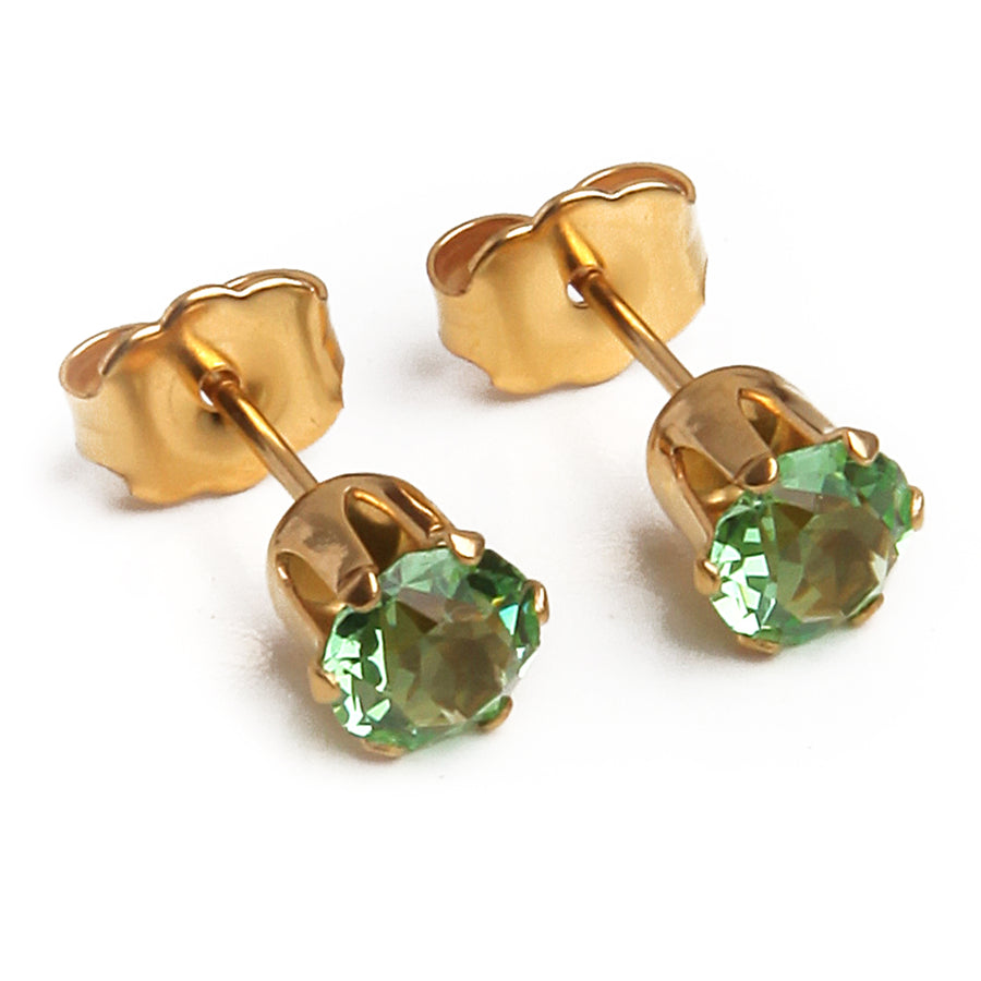 Cubic Zirconia August Birthstone Earrings | Round Shape | Peridot | 22k Gold Plated Stainless Steel Posts | 2 Pairs