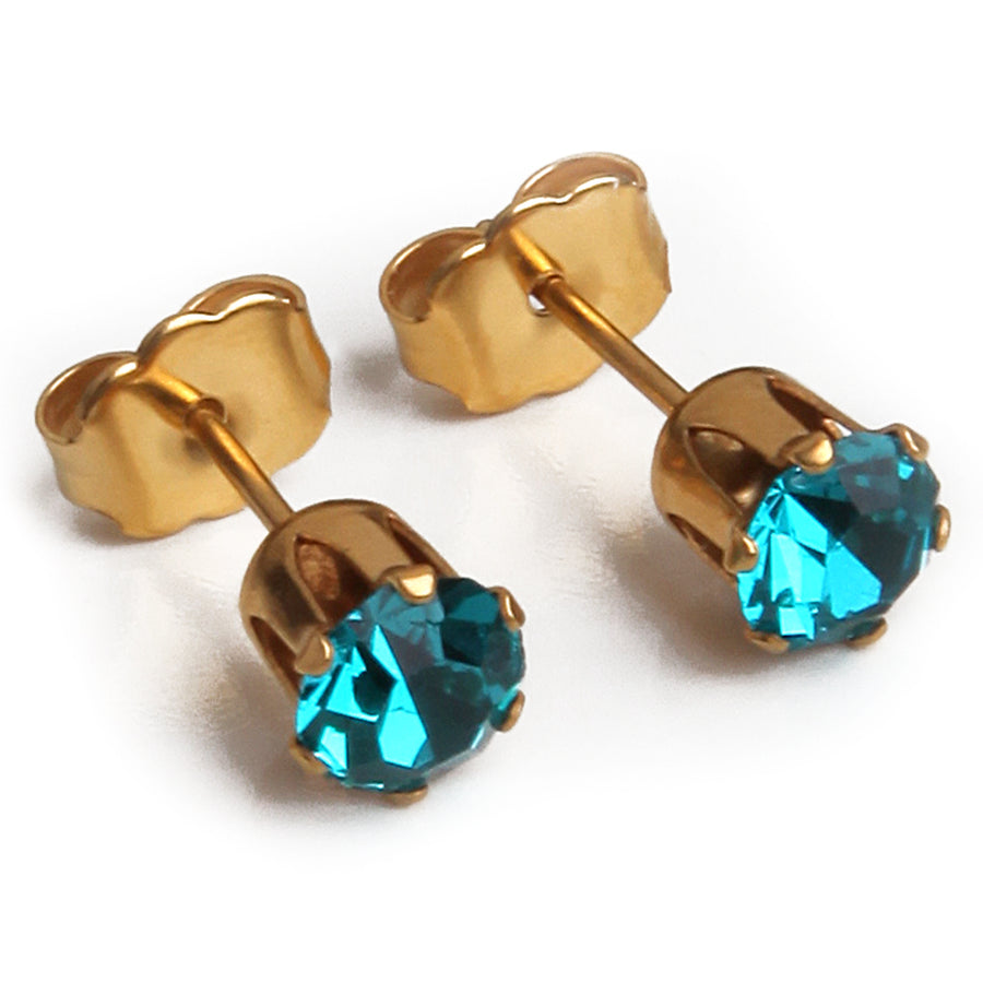 Cubic Zirconia December Birthstone Earrings | Round Shape | Blue Topaz | 22k Gold Plated Stainless Steel Posts | 2 Pairs