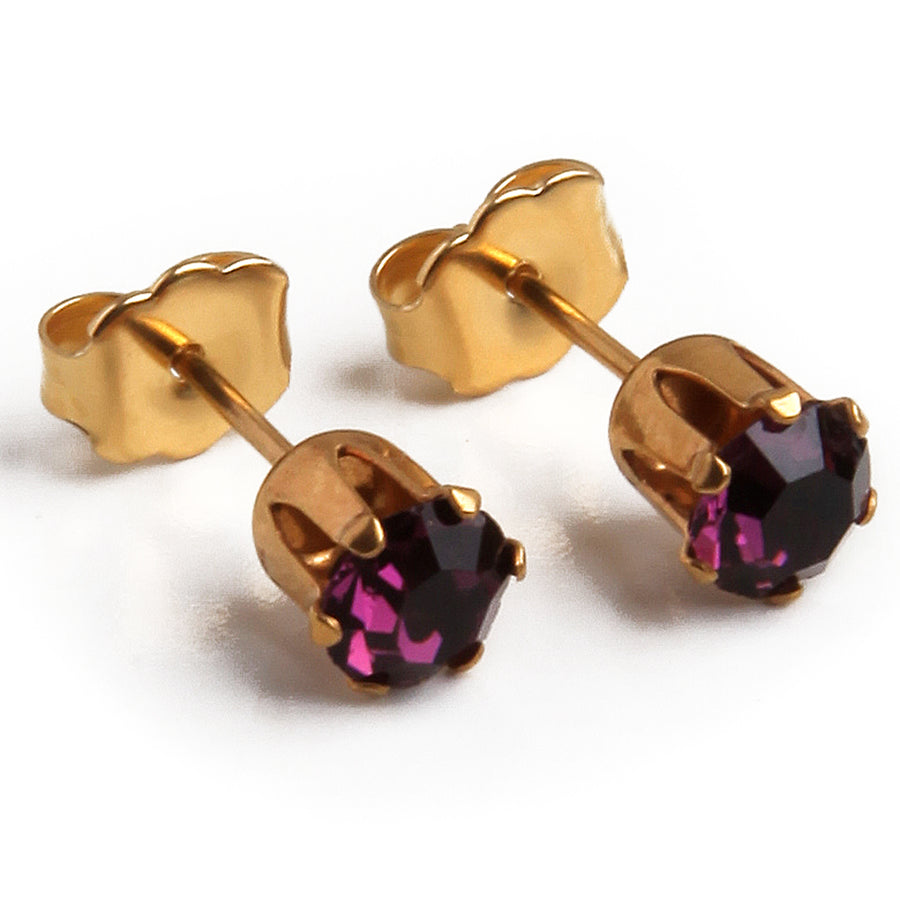 Cubic Zirconia February Birthstone Earrings | Round Shape | Purple Amethyst | 22k Gold Plated Stainless Steel Posts | 2 Pairs