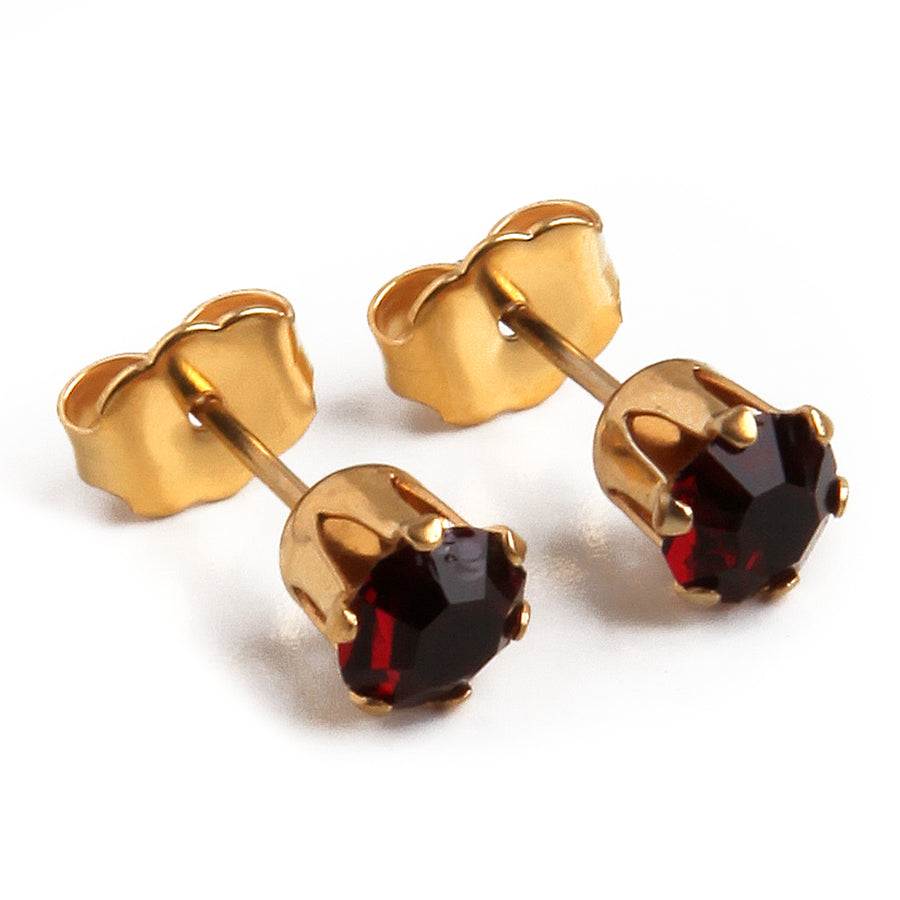 Cubic Zirconia January Birthstone Earrings | Round Shape | Garnet | 22k Gold Plated Stainless Steel Posts | 2 Pairs