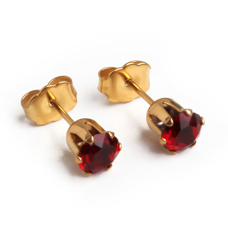 Cubic Zirconia July Birthstone Earrings | 5mm Round | Ruby | 22k Gold Plated Stainless Steel Posts | 1 Pair