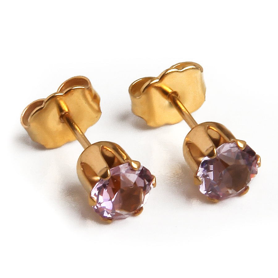 Cubic Zirconia June Birthstone Earrings | Round Shape | Alexandrite | 22k Gold Plated Stainless Steel Posts | 2 Pairs