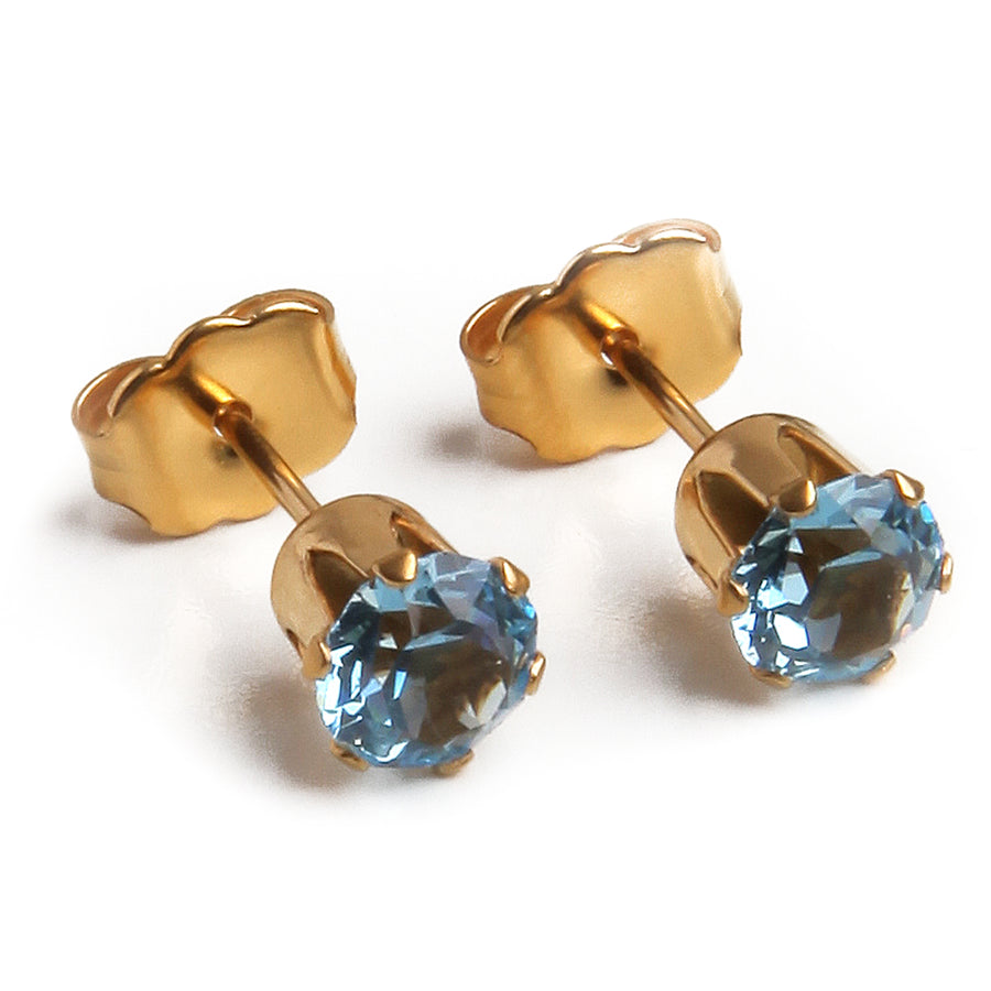Cubic Zirconia March Birthstone Earrings | 5mm Round | 22k Gold Plated Stainless Steel Posts | 1 Pair