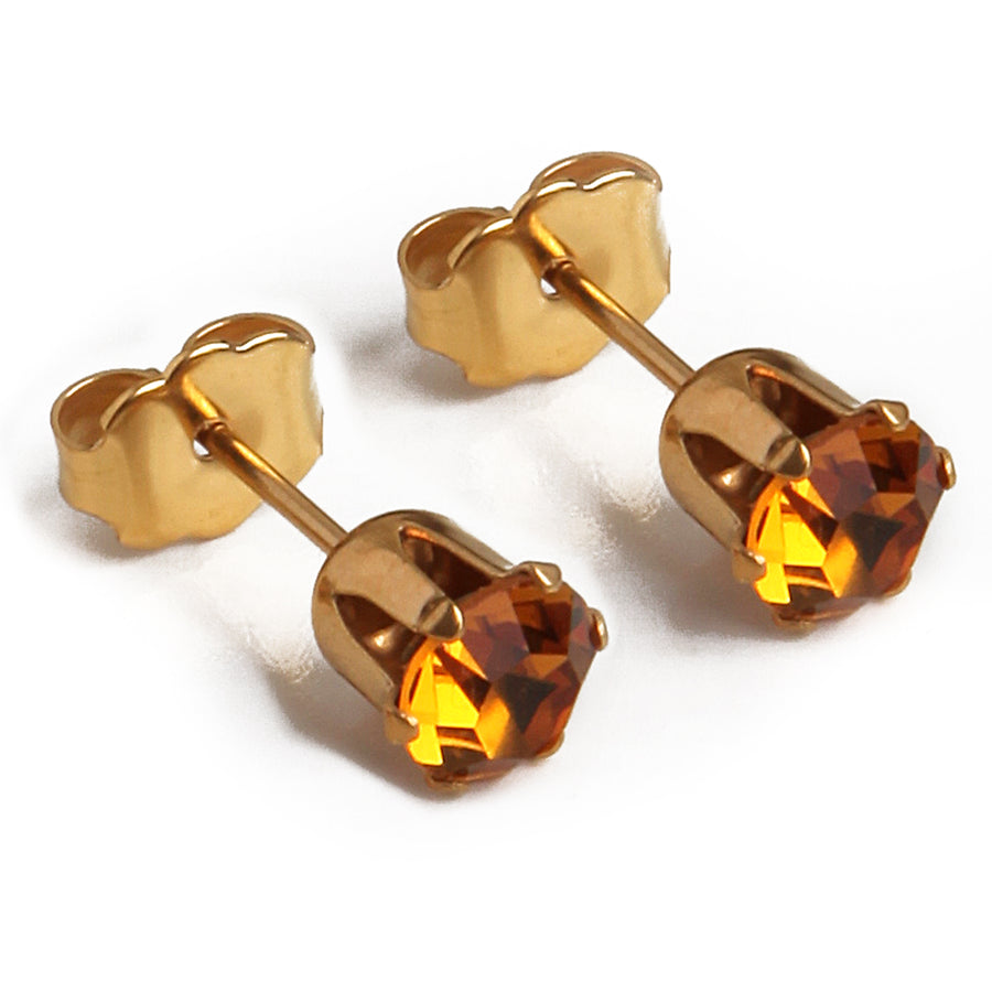 Cubic Zirconia November Birthstone Earrings | Round Shape | Topaz | 22k Gold Plated Stainless Steel Posts | 2 Pairs