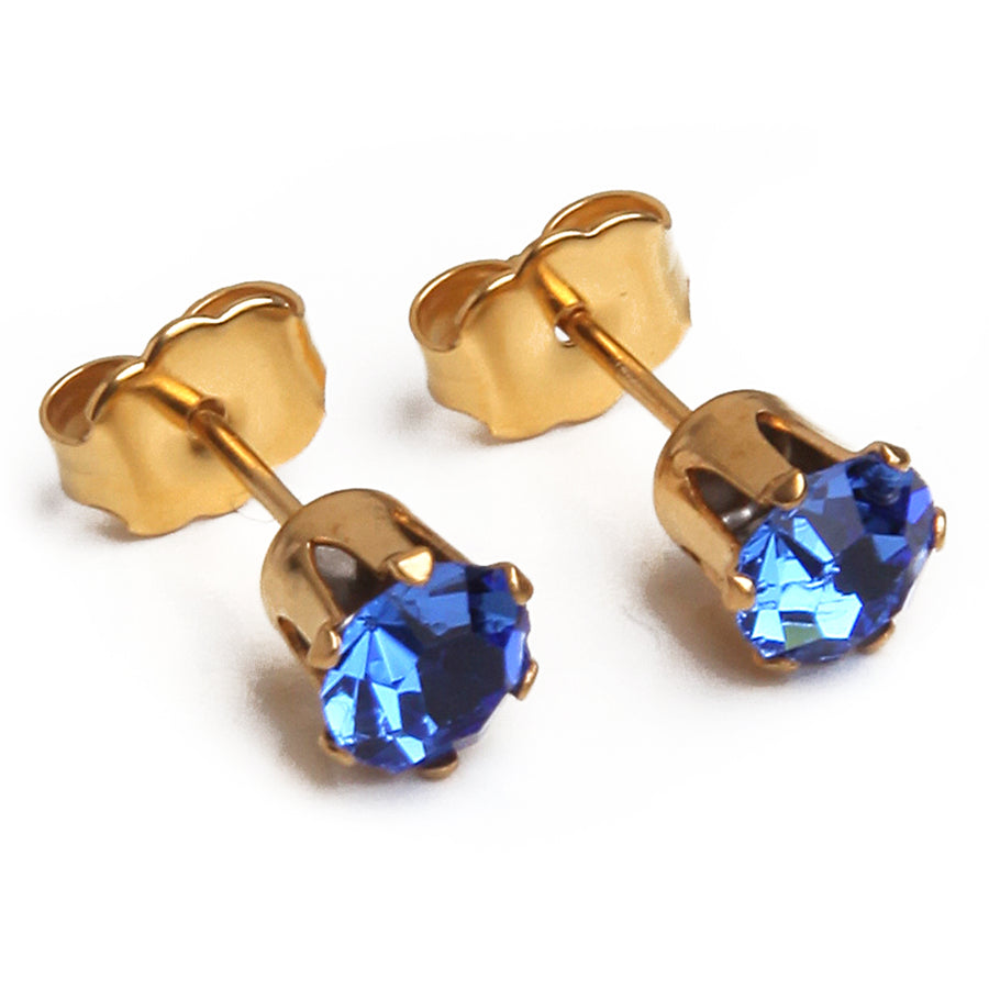 Cubic Zirconia September Birthstone Earrings | 5mm Round | 22k Gold Plated Stainless Steel Posts | 1 Pair
