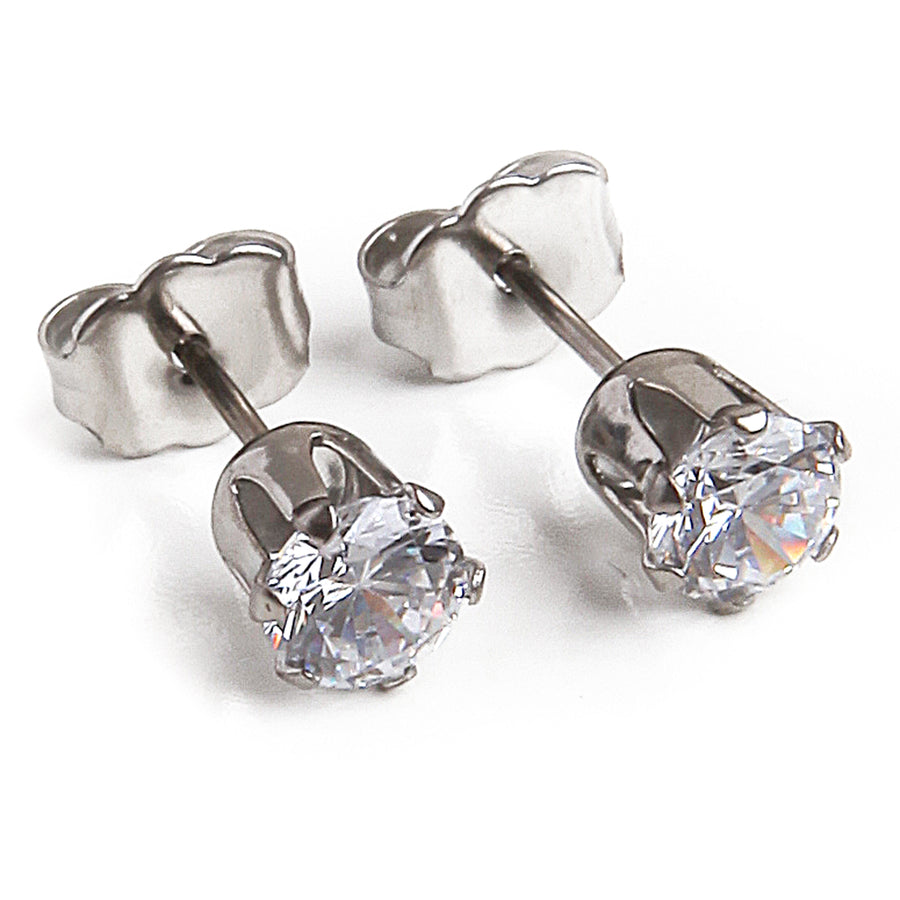 Cubic Zirconia Earrings | 5mm Clear Round | 22k Gold Plated Stainless Steel Posts | 1 Pair
