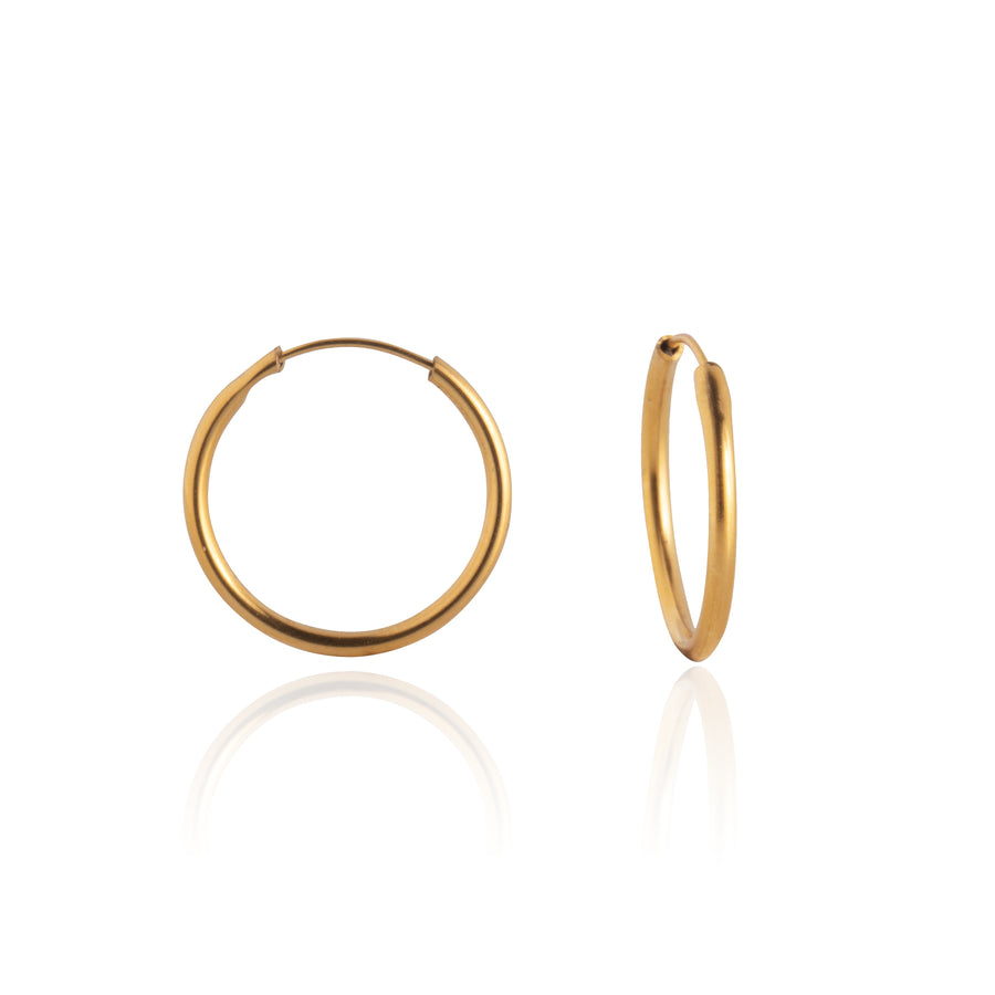 Stainless Steel Earrings | 1/2 inch Endless Hoops | 22k Gold Plated