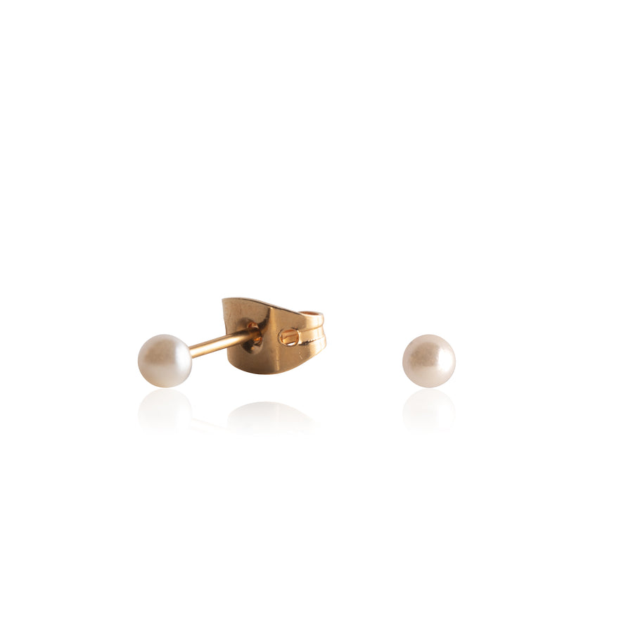 Stainless Steel Earrings | 3mm Round Glass Pearls | 22k Gold Plated | 1 Pair