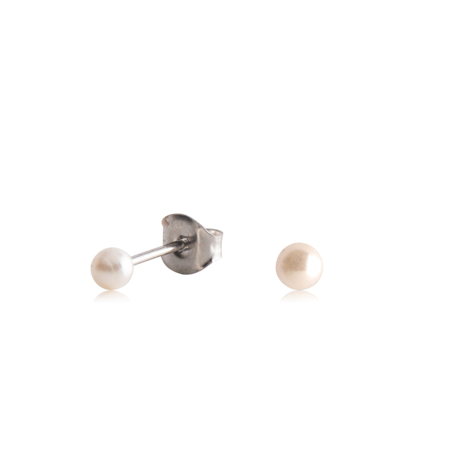 Stainless Steel Earrings | Round Glass Pearls | Silvetone | 4 Pairs