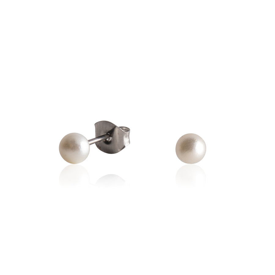 Stainless Steel Earrings | 4mm Round Glass Pearls | 1 Pair
