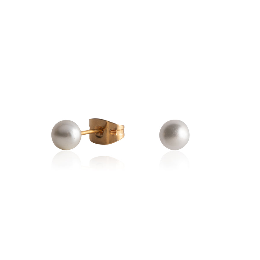 Stainless Steel Earrings | 5mm Round Glass Pearl | 22k Gold Plated | 1 Pair