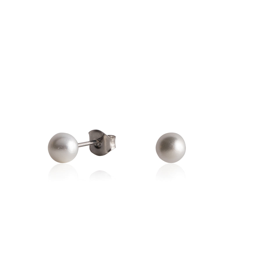 Wholesale | Stainless Steel Earrings | 5mm Round Glass Pearls | 1 Pair
