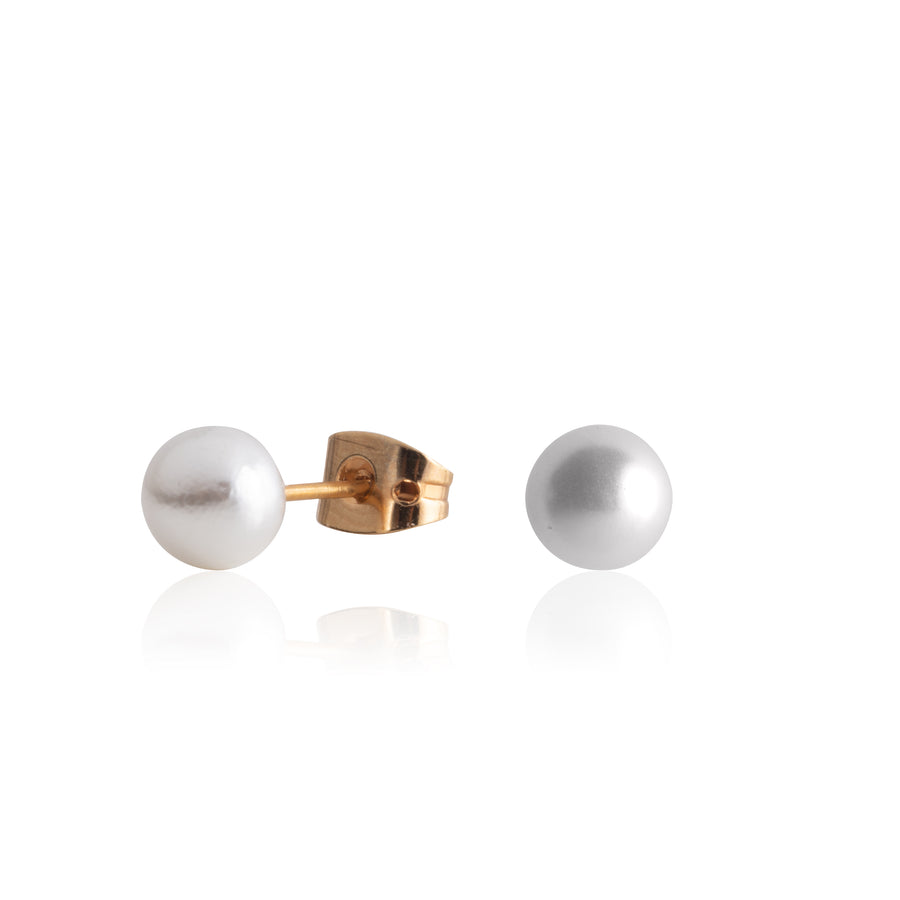 Stainless Steel Earrings | 6mm Round Glass Pearls | 2 Pairs