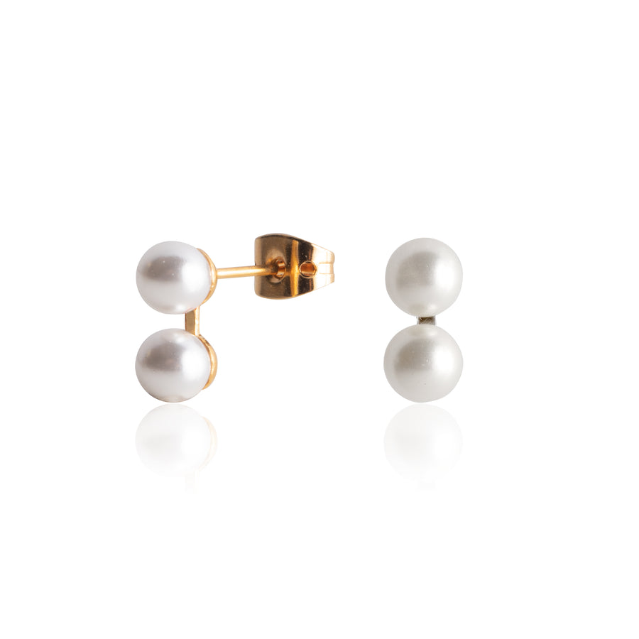 Stainless Steel Earrings | 6mm Double Round Glass Pearls | 22k Gold Plated | 1 Pair