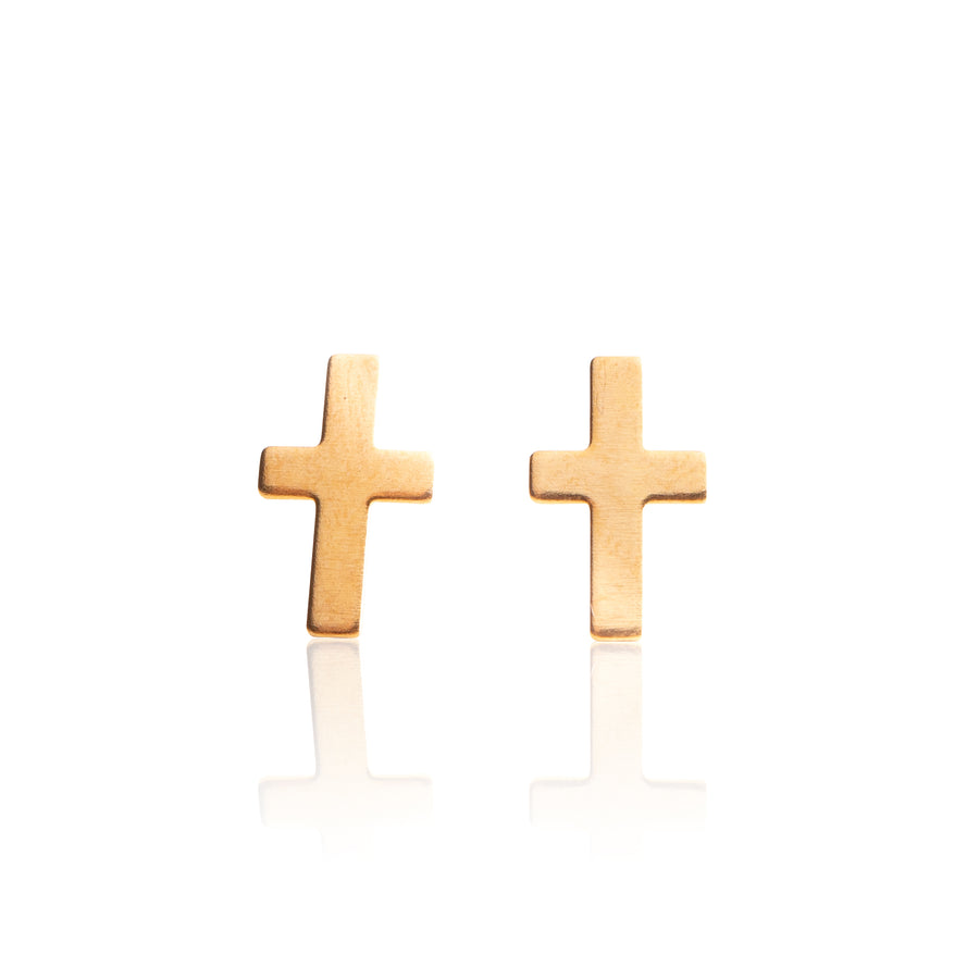 Stainless Steel Earrings | Cross Studs | 22k Gold Plated