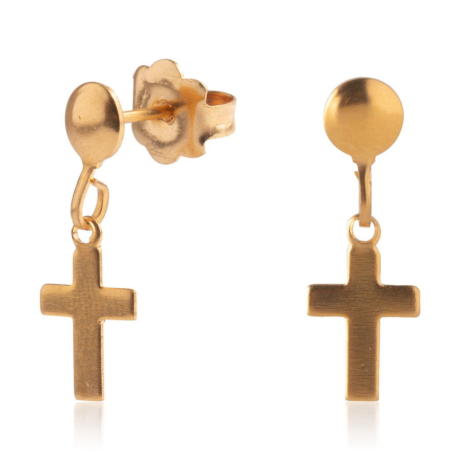 Wholesale | Stainless Steel Earrings | Cross Drop Studs | 22k Gold Plated | 1 Pair