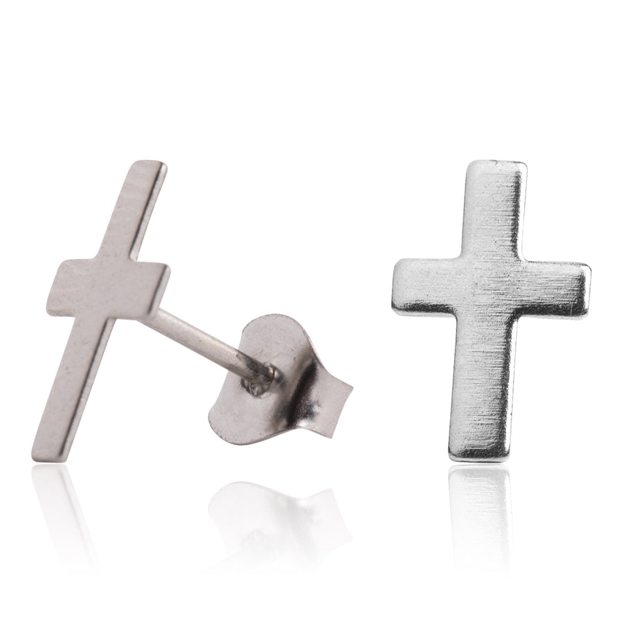 Stainless Steel Earrings | Cross Studs | 2 Pairs