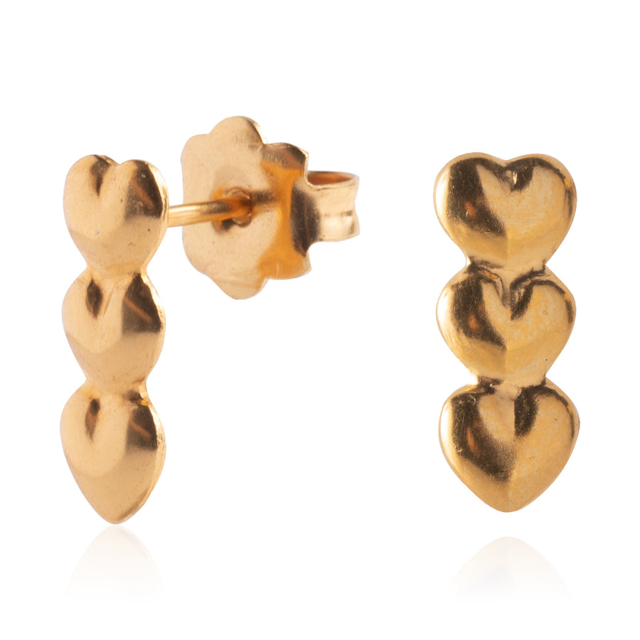 Stainless Steel Earrings | Triple Heart Studs | 22k Gold Plated