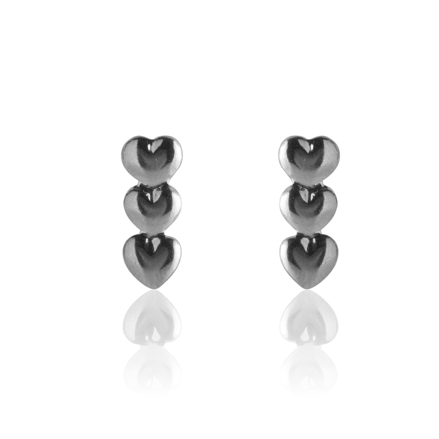 Stainless Steel Earrings | Triple Heart Studs