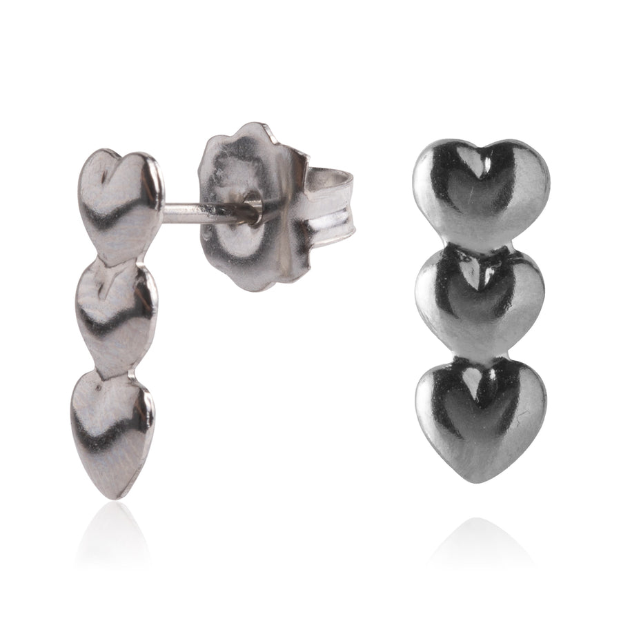 Stainless Steel Earrings | Triple Heart Drop Studs | 2 Pairs