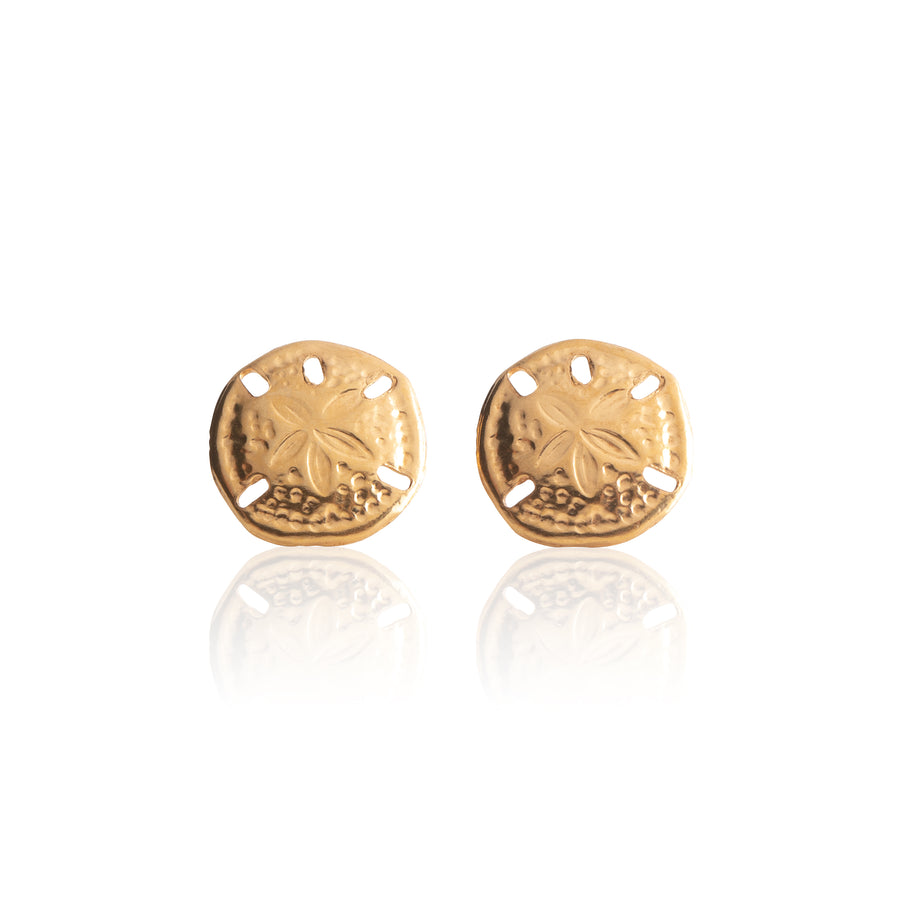 Stainless Steel Earrings | Sand Dollar Studs | 22k Gold Plated