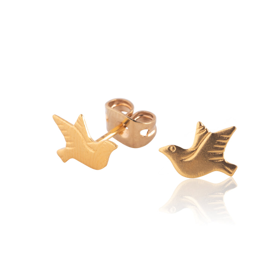Stainless Steel Earrings | Dove Studs | 22k Gold Plated | 1 Pair