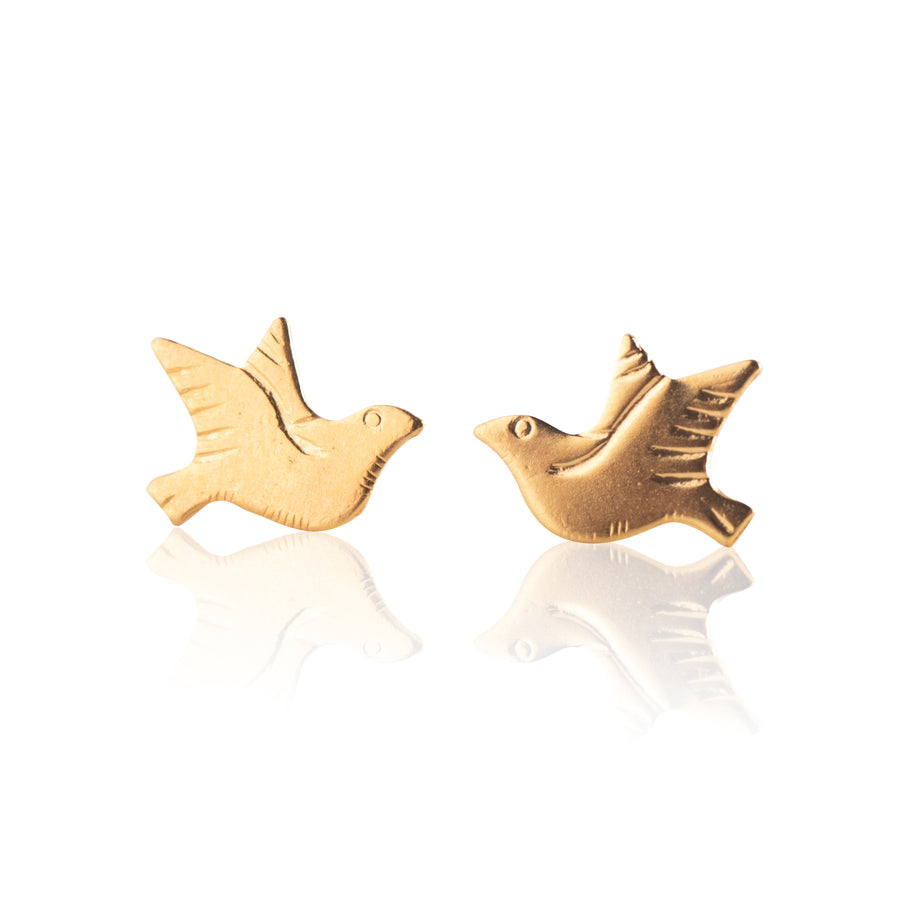 Stainless Steel Earrings | Dove Studs | 22k Gold Plated