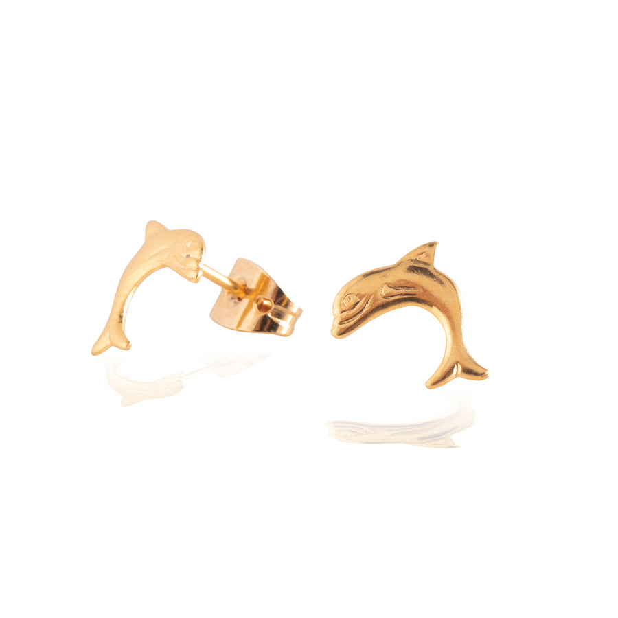 Stainless Steel Earrings | Dolphin Studs | 22k Gold Plated