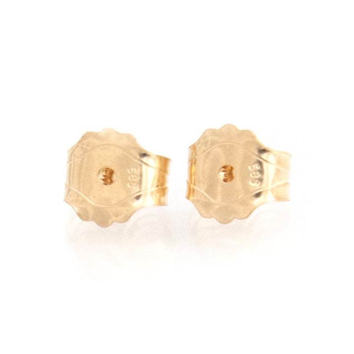 a pair of 14k gold butterfly friction earring backs with front facing forward against a white background