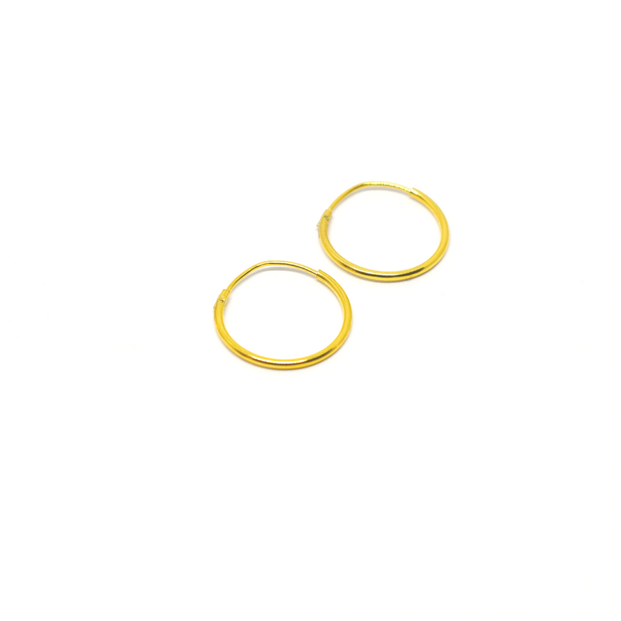 Sterling Silver Earrings | 14mm Mini Hoops | 22k Gold Plated | 1 Pair