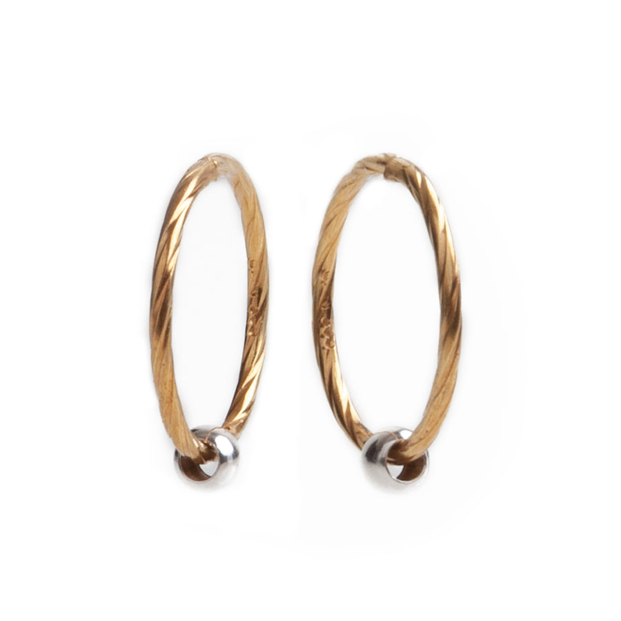 Wholesale | Sterling Silver Earrings | 14mm Hinged Hoops with Twist Design and 3mm Beads | 22k Gold Plated | 1 Pair