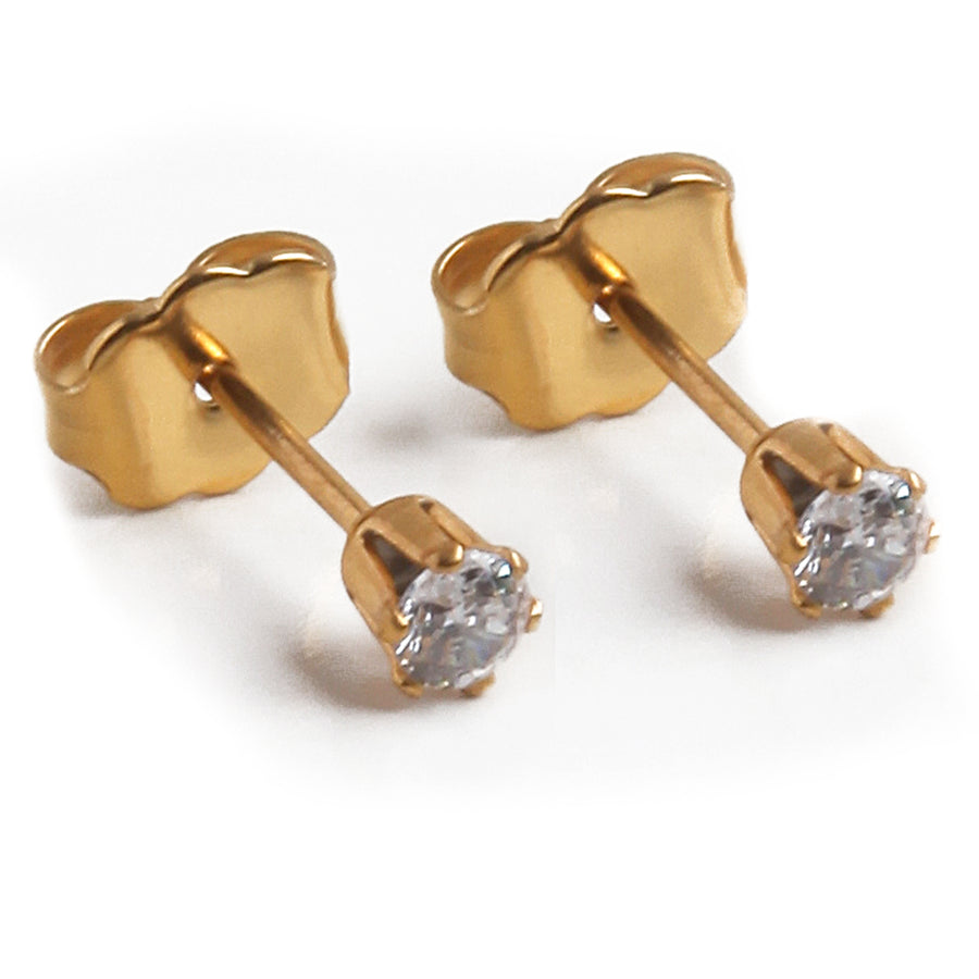 Cubic Zirconia Earrings | 3mm Clear Round | 22k Gold Plated Stainless Steel Posts