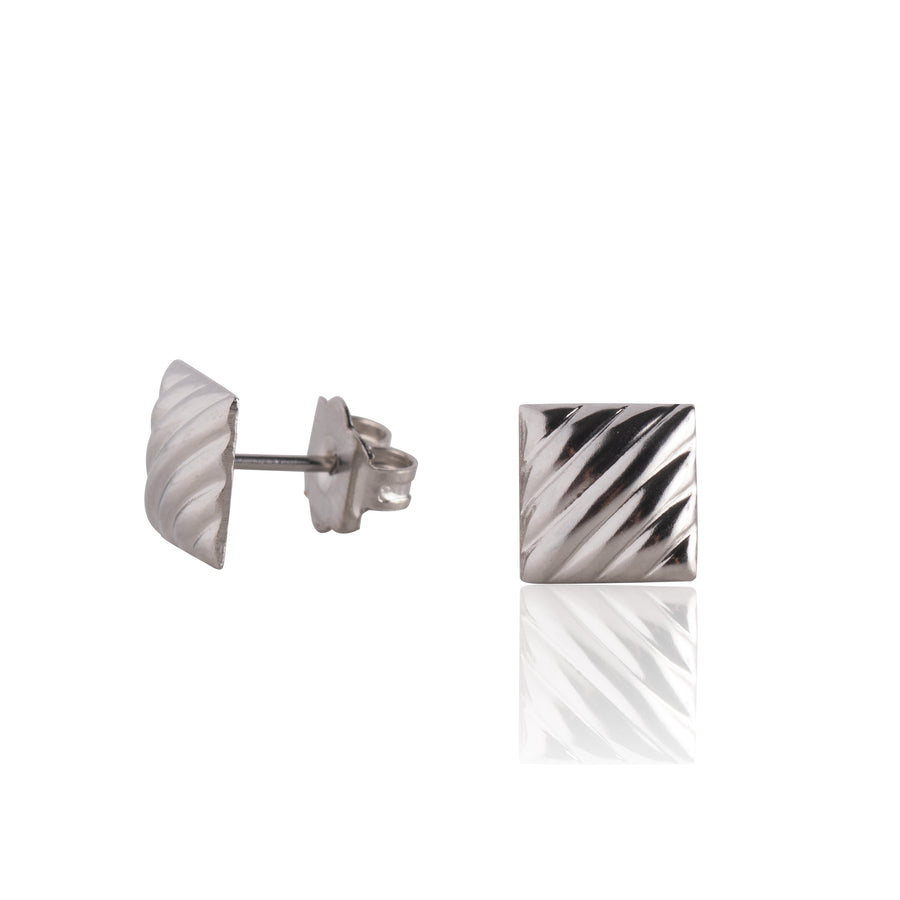 Stainless Steel Earrings | Lined Square Studs