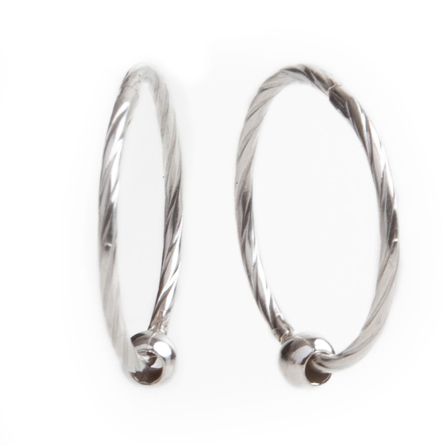 Wholesale | Sterling Silver Earrings | 16mm Hinged Hoops with Twist Design and 3mm beads | 1 Pair