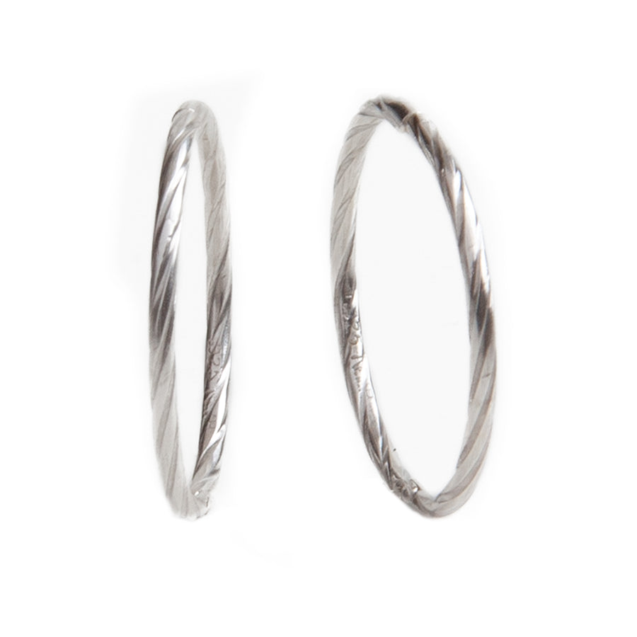 Wholesale | Sterling Silver Earrings | 16mm Hinged Hoops with Twist Design | 1 Pair