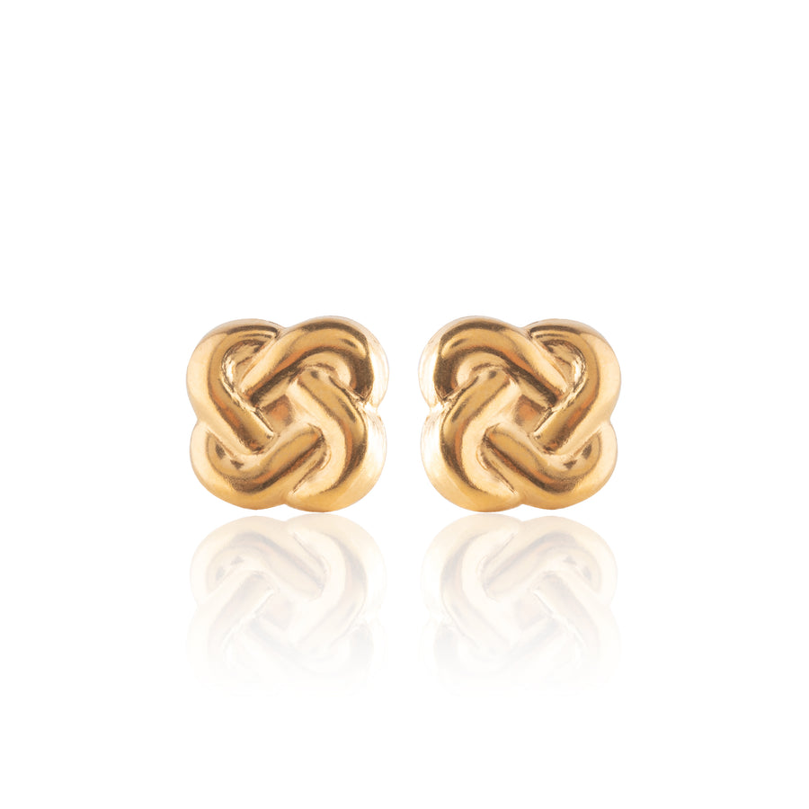 Stainless Steel Earrings | Love Knot Studs | 22k Gold Plated