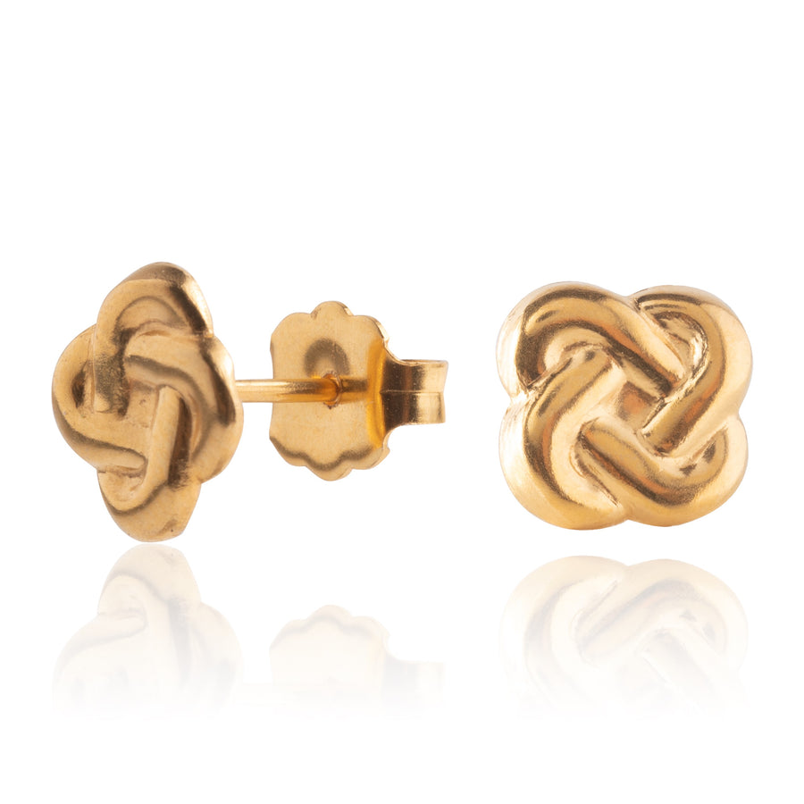 Wholesale | Stainless Steel Earrings | Love Knot Studs | 22k Gold Plated | 1 Pair