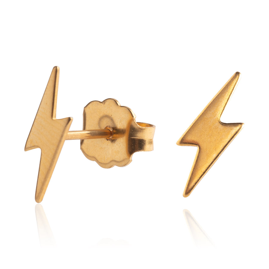 Gold Lightning Bolt Earrings