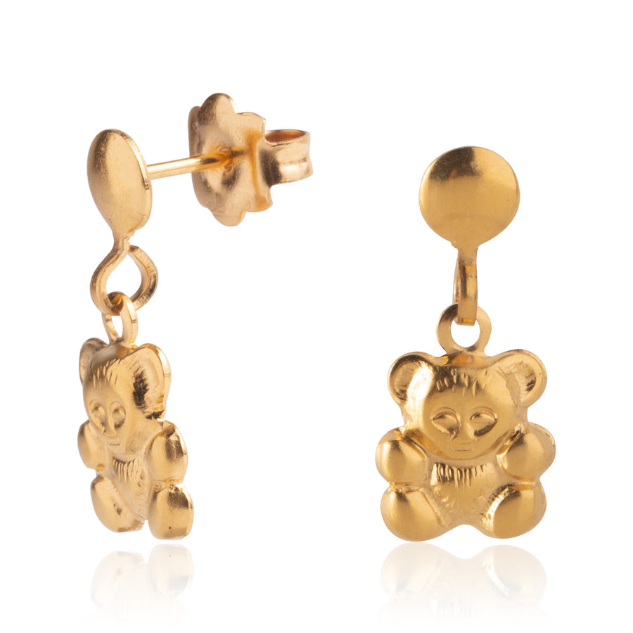 Stainless Steel Earrings | Teddy Bear Drop Studs | 22k Gold Plated
