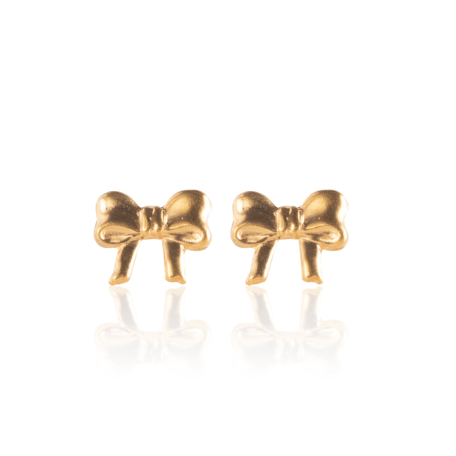 Stainless Steel Earrings | Small Bow Studs | 22k Gold Plated