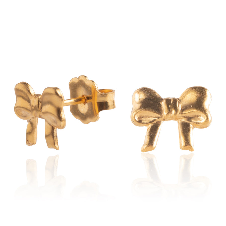 Wholesale | Stainless Steel Earrings | Small Bow Studs | 22k Gold Plated | 1 Pair