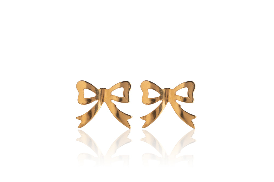 Stainless Steel Earrings | Open Bow Studs | 22k Gold Plated