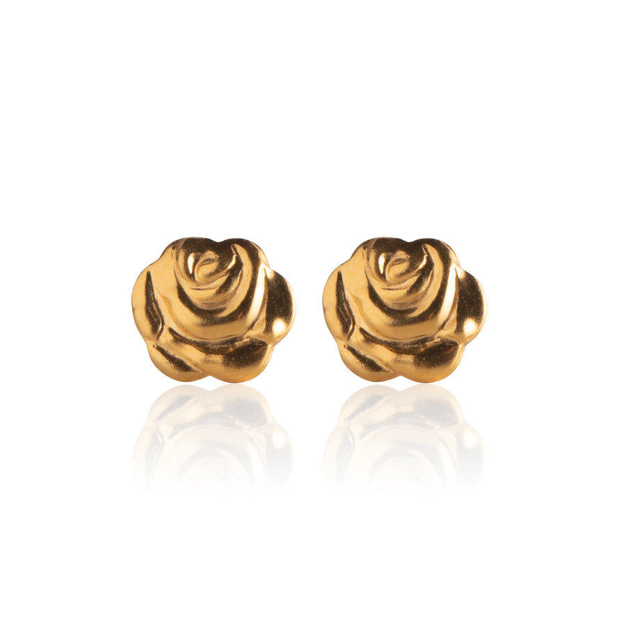 Stainless Steel Earrings | Rose Bud Studs | 22k Gold Plated